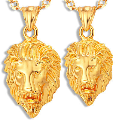 Lions Head Pendant Necklace Gold