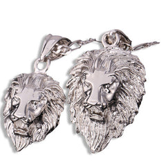 Lions Head Pendant Necklace Silver