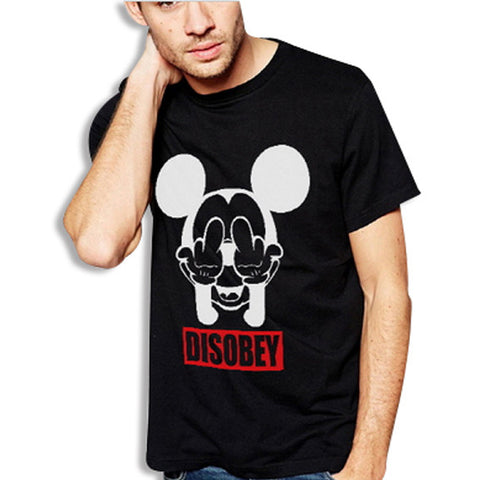 Mickey Disobey T-Shirt Black Front