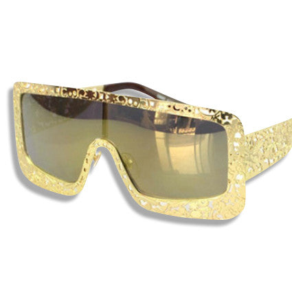 Oversized Vintage Framed Sunglasses Gold
