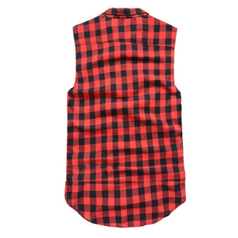 Plaid Flannel Side Zipper Extended Sleeveless Shirt Red Back