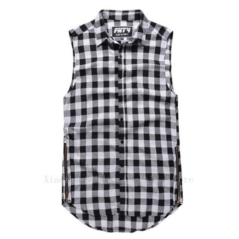 Plaid Flannel Side Zipper Extended Sleeveless Shirt Black