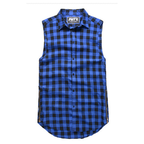 Plaid Flannel Side Zipper Extended Sleeveless Shirt Blue