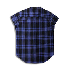 Plaid Sleeveless Dress Shirt with Gold Side Zippers Blue Back