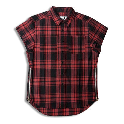 Plaid Sleeveless Dress Shirt with Gold Side Zippers Red Front