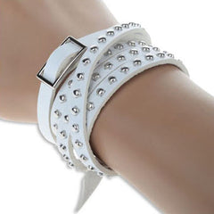 Retro Rivet Leather Bracelet White Demo