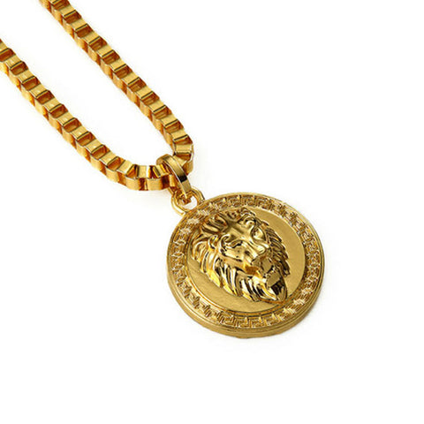 Round Lion Pendant Chain Necklace