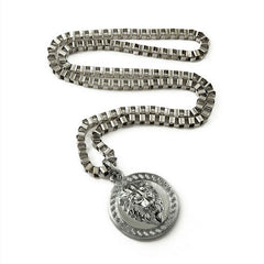 Round Lion Pendant Silver Chain Necklace Fullview