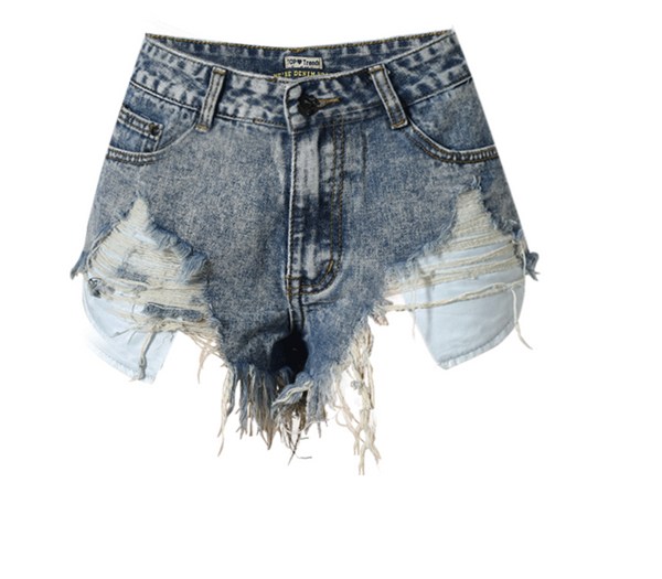 Frayed High Waisted Cut Off Shorts Denim