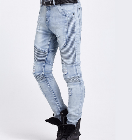 Denim Biker Moto Jeans Blue