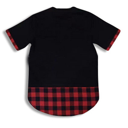 Shirt with Flannel Extension and Leather Bib Black Rear