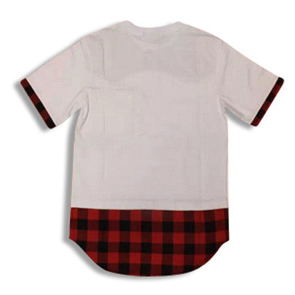 Shirt with Flannel Extension and Leather Bib White Rear