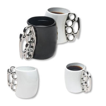 Silver Brass Knuckles Black Ceramic Coffee Mug