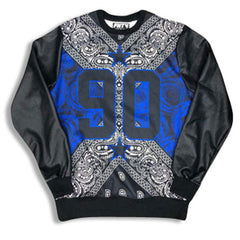 Street Love 90 Leather Sleeve Sweatshirt Blue