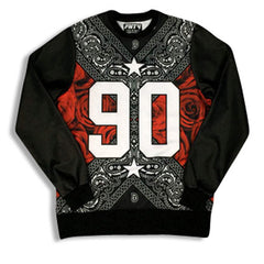 Street Love 90 Leather Sleeve Sweatshirt Red