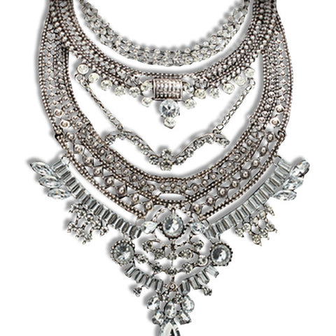 Tribal Queen Layered Statement Necklace Antique Silver
