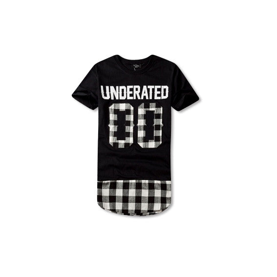 UNDERATED Extended Flannel T-Shirt Black and White