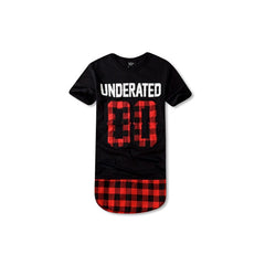 UNDERATED Extended Flannel T-Shirt Black and Red
