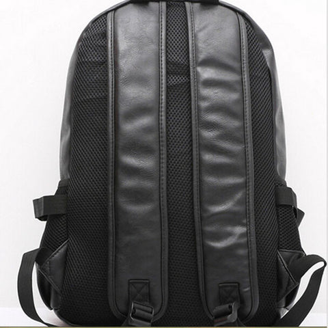 Wanderlust High Quality Black Leather Backpack Front