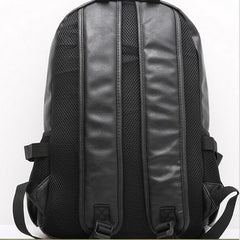 Wanderlust High Quality Black Leather Backpack Back