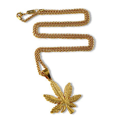 Weed Leaf Gold Chain Full View
