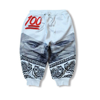 White Red Hundred Dollar Jogger Shorts
