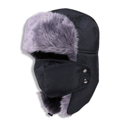 Winter Fur Hat with Facemask Black