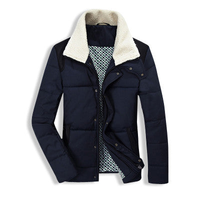 Winter Fur Collar Jacket Navy Blue