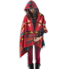 Womens Oversized Poncho Red