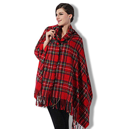 Womens Red Green Oversized Poncho