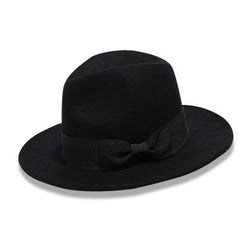 Womens Wide Brim Fedora Black