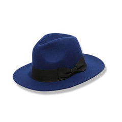 Womens Wide Brim Fedora Blue