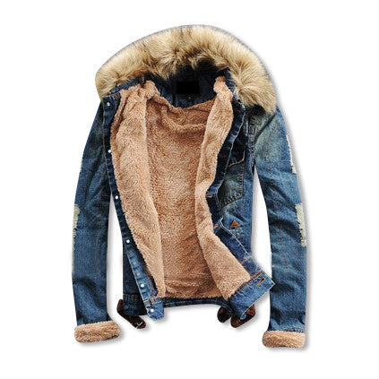 Wool Denim Jacket with Fur Collar Interior