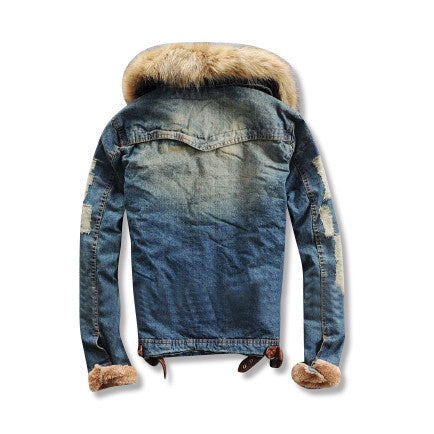 Wool Denim Jacket with Fur Collar Rear