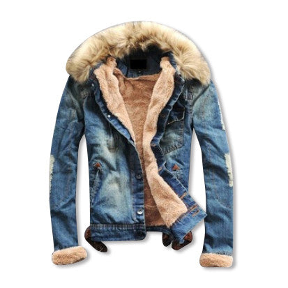 Wool Denim Jacket with Fur Collar
