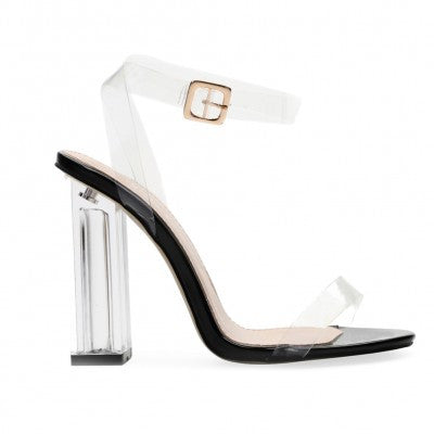 Black Patent Strappy Lucite Clear Heels