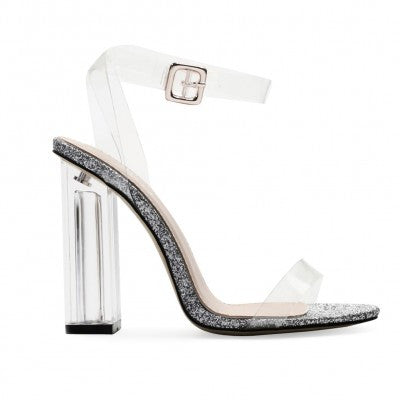 Glitter Strappy Lucite Clear Heels