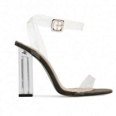 Olive Green Strappy Lucite Clear Heels