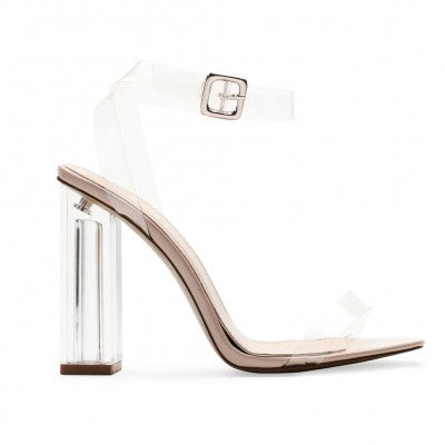 Nude Strappy Lucite Clear Heels