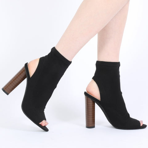 Peeptoe Stretch Ankle Boots Black