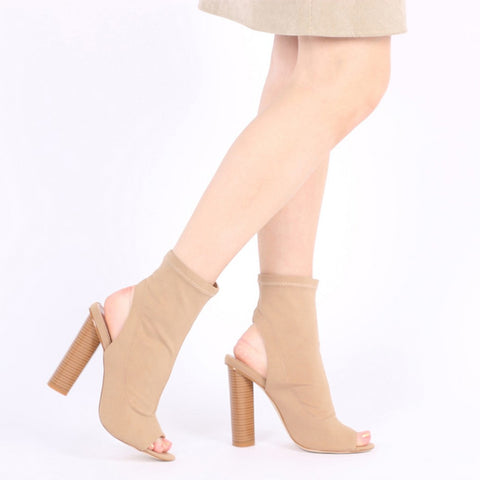 Peeptoe Stretch Ankle Boots Khaki