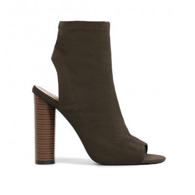 Peeptoe Stretch Ankle Boots Olive Green