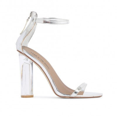 Barely There Lucite Heels Silver