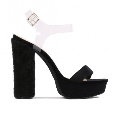 FAUX FUR HEEL PLATFORMS BLACK VELVET