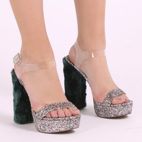 Faux Fur Heel Platforms Green Glitter