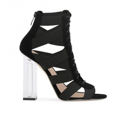 Criss Cross Lucite Heels Black