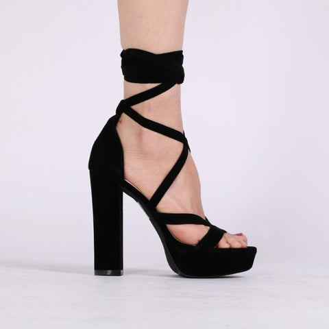Criss Cross Platform Heels Black