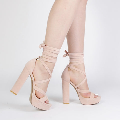 Criss Cross Platform Heels Blush