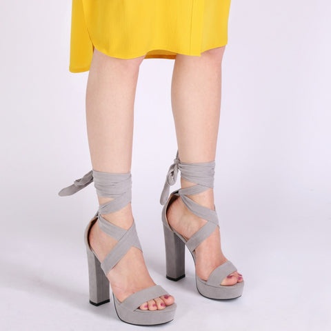 Suede Wrap Up Heels Grey