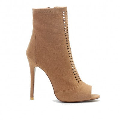 Cut Out Ankle Boots Camel